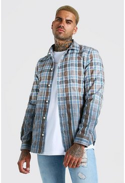 Tan brown Check Shirt With Ombre Hem