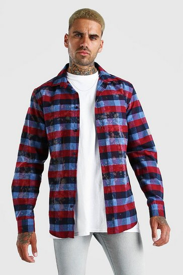 Multi Check Shirt With Bleach Splatter