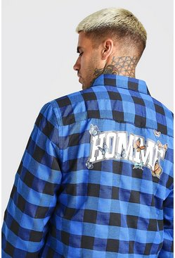 Blue Check Shirt With Homme Butterfly Back Print