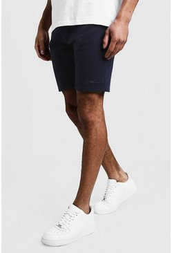 Grey MAN Signature Mid Length Jersey Shorts