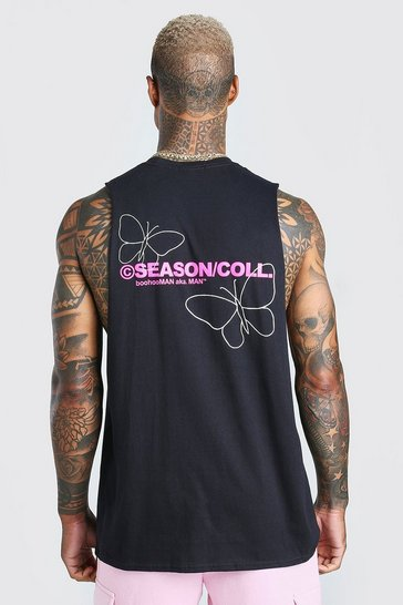 Black Outline Butterfly Back Print Tank