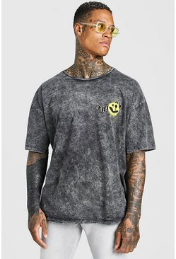 Charcoal Oversized Acid Wash Graffiti Graphic T-Shirt