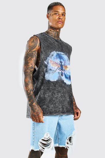 Charcoal grey Oversized Acid Wash Insect Drop Arm Tank