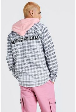 Coral pink MAN Official Back Print With Contrast Hood