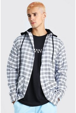 Black MAN Official With Contrast Hood Check Shirt