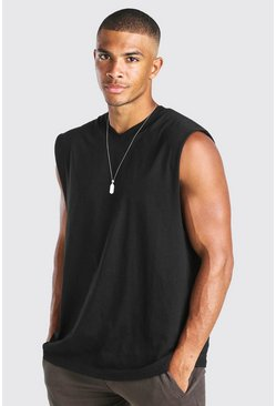 Black Oversized V-Neck Tank