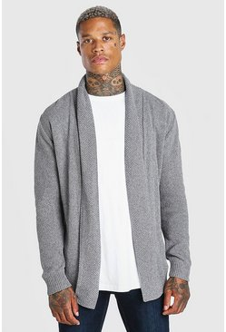 Charcoal grey Textured Edge To Edge Shawl Cardigan