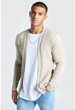 Stone beige Ribbed Edge To Edge Cardigan