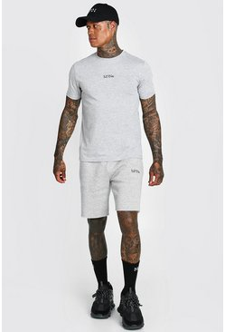 Grey marl Man T-shirt & Short Set With Waistband Detail