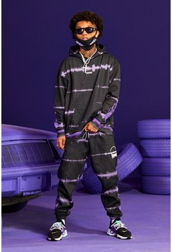Purple Tie Dye Flame Printed Tracksuit And Facemask