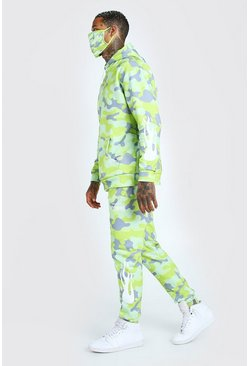 Yellow Camo Print Tracksuit And Facemask