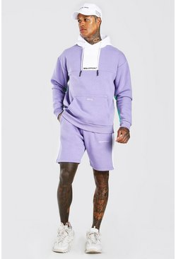 MAN Official Short-Trainingsanzug mit Colorblock, Violett