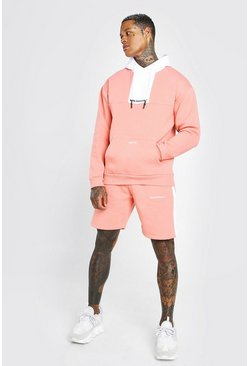 Coral pink Man Official Colour Block Short Tracksuit