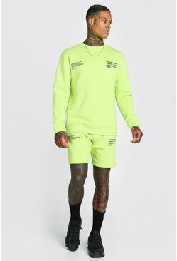 Lime green Man Official Printed Sweater Short Tracksuit