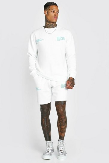 White Man Official Printed Sweater Short Tracksuit