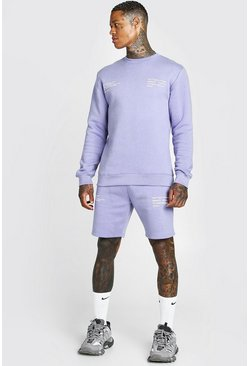 Purple lila MAN Official Sweatshirt och shorts med tryck