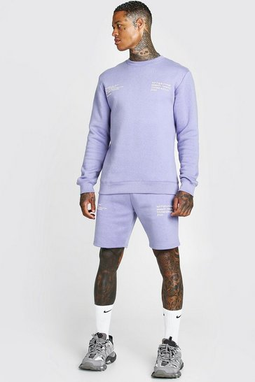 Purple Man Official Printed Sweater Short Tracksuit