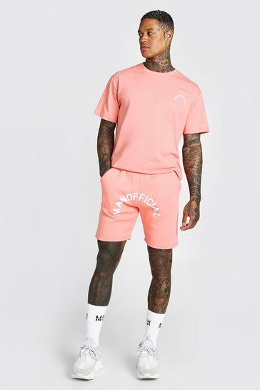 Coral pink Man Official SS20 Printed T-shirt & Short Set