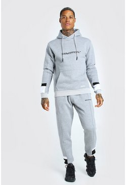 Grey marl grey Man Official Colour Block Tracksuit