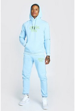 Blue Official Man Graffiti Print Tracksuit