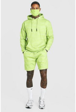 Lime green Official All Over Print Short Tracksuit