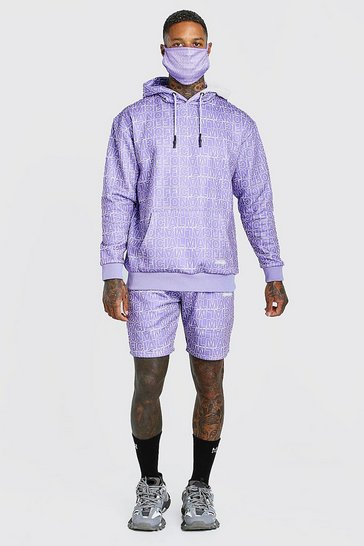 Purple Official All Over Print Short Tracksuit