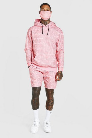 Coral pink Official All Over Print Short Tracksuit