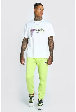 Lime green LA Graphic Print T-Shirt Tracksuit