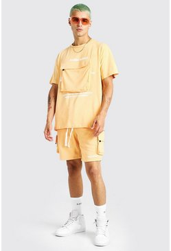 Man Official Set aus T-Shirt und Shorts mit Cargo-Tasche, Orange