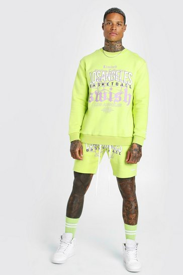 Lime green LA Graphic Print Sweater Short Tracksuit