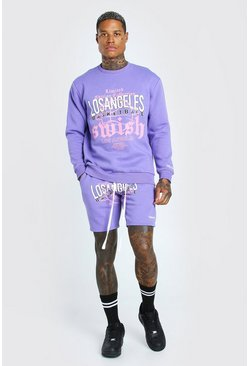 Purple LA Graphic Print Sweater Short Tracksuit