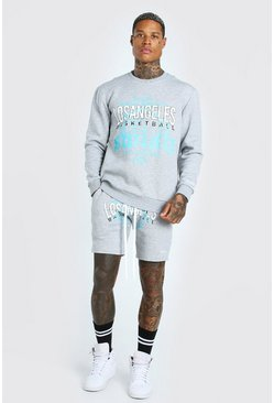 Grey marl grey LA Graphic Print Sweater Short Tracksuit