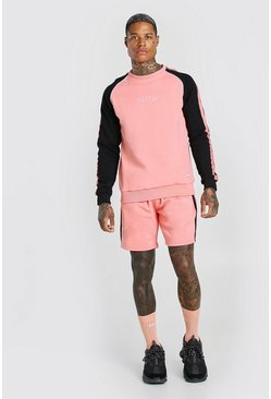 Coral pink MAN Colour Block Sweater Short Tracksuit