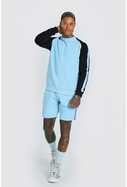 Light blue blue MAN Colour Block Sweater Short Tracksuit