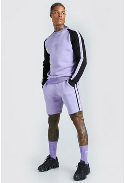 MAN Trainingsanzug aus Sweatshirt und Shorts mit Colorblock-Optik, Violett