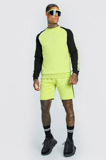 Lime green MAN Colour Block Sweater Short Tracksuit