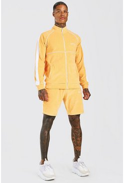 Orange Man Velour Funnel Neck Short Tracksuit
