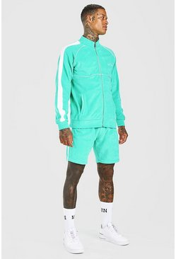 Green grön Man Velour Funnel Neck Short Tracksuit