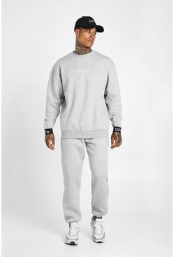Grey marl grey Man Elasticated Cuff Sweater Tracksuit