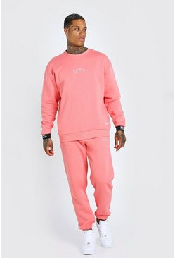 Coral pink Man Elasticated Cuff Sweater Tracksuit