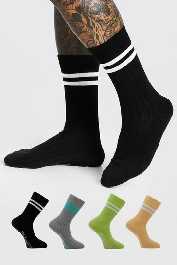Multi 4 Pack Socks with Sports Stripe