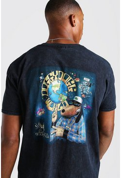 Black Oversized Death Row Acid Wash License T-Shirt