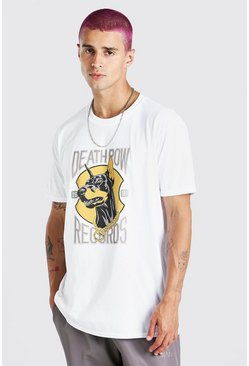 White Oversized Death Row Dog Print License T-Shirt