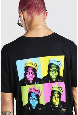 Black Oversized Biggie Warhol Back Print License T-Shirt