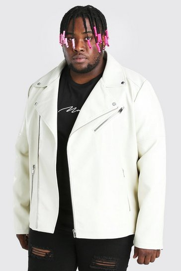 Off white white Plus Size Leather Look Biker Jacket