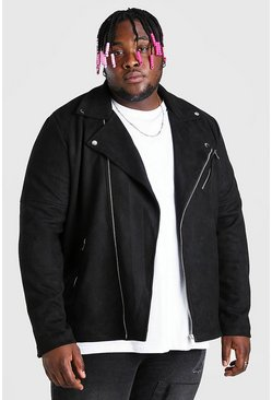 Black Plus Size Suedette Biker Jacket