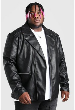 Black Plus Size Leather Look Back Panel Biker