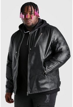 Black Plus Size Leather Look Biker With Hood
