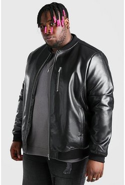 Black Plus Size Leather Look Bomber Jacket