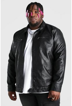 Black Plus Size Leather Look 2 Pocket Harrington